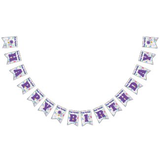 Happy Birthday Purple/Personalize Bunting Flags