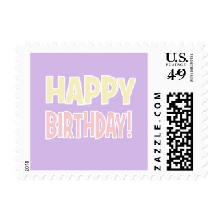 """HAPPY BIRTHDAY!"" Purple/Pink/Yellow Pastel Postage Stamps"