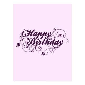 Happy Birthday Purple Swirls Postcard