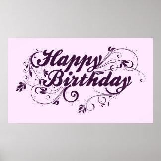 Happy Birthday Purple Swirls Poster