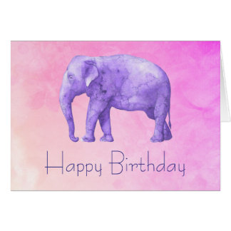 Happy Birthday Purple Watercolor Elephant on Pink Card