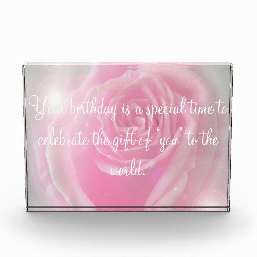 Happy Birthday Quotes amp Pink Rose Acrylic Award Zazzle