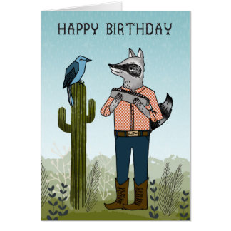 Happy Birthday - Raccoon playing Harmonica Card