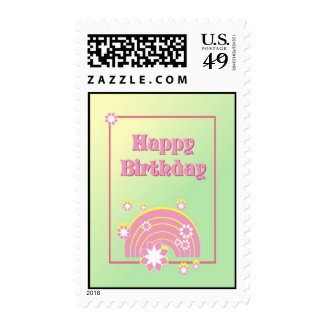 Happy Birthday Rainbow and Flowers Postage Stamp Stamp