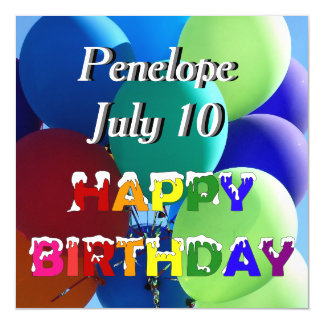 Happy Birthday Rainbow Balloon Name Magnetic Card