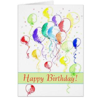 Happy Birthday Rainbow Balloons Watercolor Card