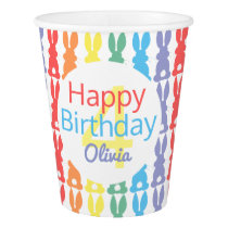 Happy Birthday Rainbow Bunny Personalized Kids Paper Cup