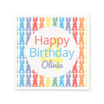Happy Birthday Rainbow Bunny Personalized Kids Paper Napkin