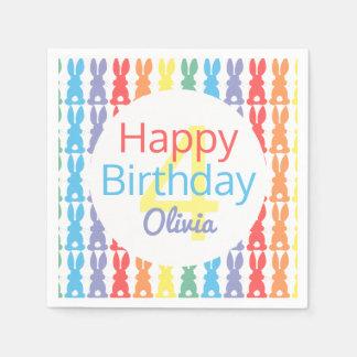 Happy Birthday Rainbow Bunny Personalized Kids Paper Napkin