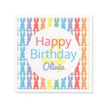 Happy Birthday Rainbow Bunny Personalized Kids Paper Napkins