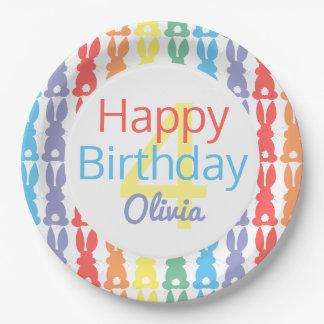 Happy Birthday Rainbow Bunny Personalized Kids Paper Plate