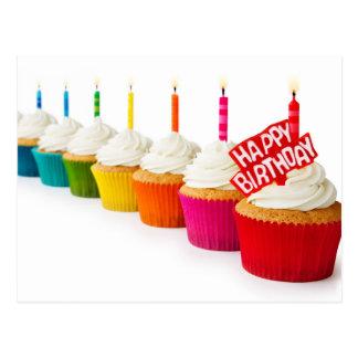 Happy Birthday Rainbow Cupcakes Postcard
