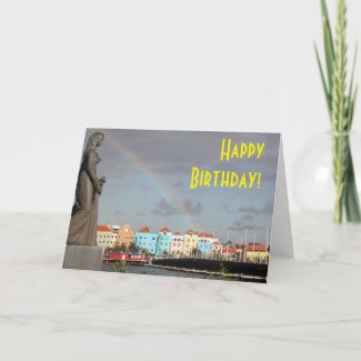 Happy Birthday Rainbow over Willemstad Curaçao Card