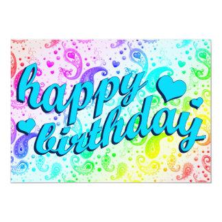 happy birthday : rainbow paisley card