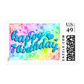 happy birthday : rainbow paisley : stamp