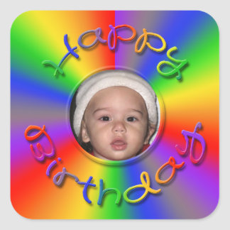 Happy Birthday Rainbow Photo Stickers Template
