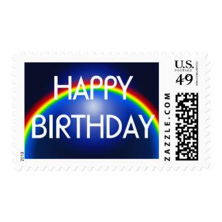 Happy Birthday Rainbow Planet Card Stamps