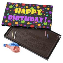 Happy Birthday Rainbow Polka Dots Dark Chocolate Bar