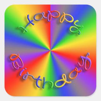Happy Birthday Rainbow Stickers Square