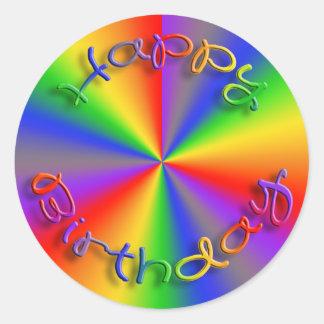 Happy Birthday Rainbow Stickers Template