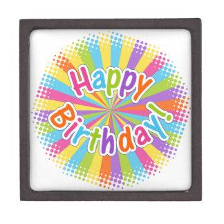 Happy Birthday Rainbow Text Jewelry Box
