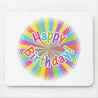 Happy Birthday Rainbow Text Mouse Pad