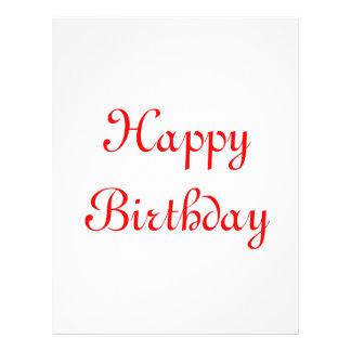 "Happy Birthday. Red and White. Custom 8.5"" X 11"" Flyer"
