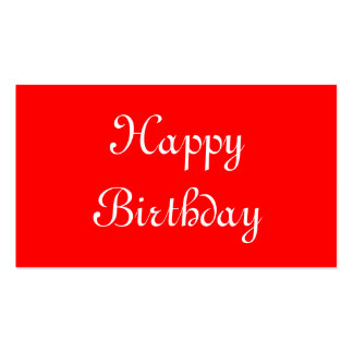 Happy Birthday. Red and White. Custom Business Card