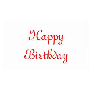 Happy Birthday. Red and White. Custom Business Card Templates