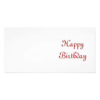Happy Birthday. Red and White. Custom Card
