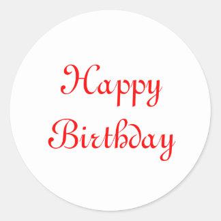Happy Birthday. Red and White. Custom Classic Round Sticker