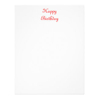 Happy Birthday. Red and White. Custom Letterhead Design