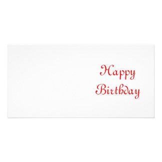 Happy Birthday. Red and White. Custom Photo Card