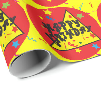 Happy Birthday Red and Yellow Wrapping Paper