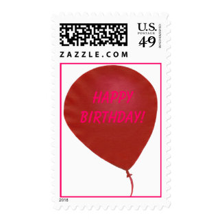 Happy Birthday! red balloon postage stamps