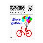 Happy Birthday Red Bike Balloon Postage Stamp