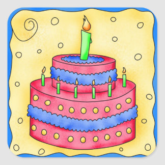 Happy Birthday Red Cake Sticker 1st