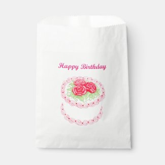 Happy Birthday Red Floral Cake Favor Bags
