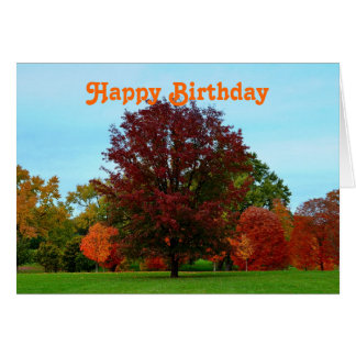 Happy Birthday Red Oak Tree in Autumn Card