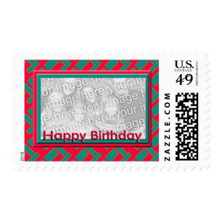 Happy Birthday red photo frame Postage