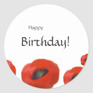 Happy Birthday, red poppies floral Classic Round Sticker