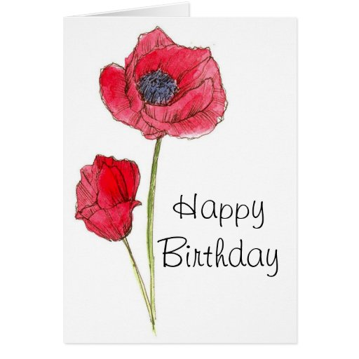 Happy Birthday Red Poppy Flower Botanical Art Greeting Cards from ...