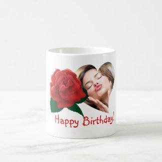Happy birthday red rose custom photo mugs