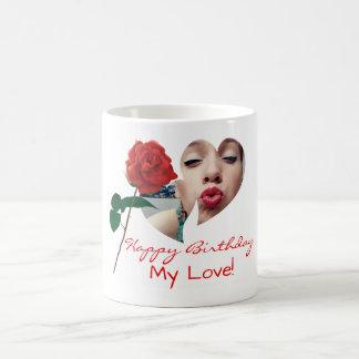 Happy birthday red rose custom text photo mug