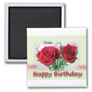 Happy Birthday Red Roses Floral Design 2 Inch Square Magnet