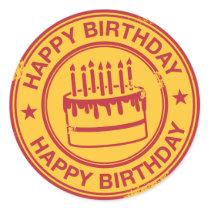 Happy Birthday -red rubber stamp effect- Classic Round Sticker