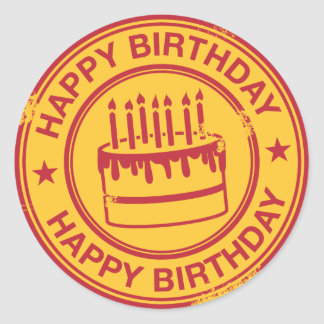 Happy Birthday -red rubber stamp effect- Classic Round Sticker