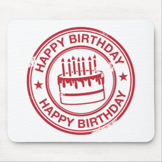 Happy Birthday -red rubber stamp effect- Mouse Pad