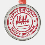 Happy Birthday -red rubber stamp effect- Christmas Tree Ornament