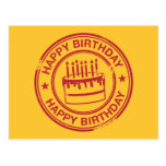 Happy Birthday -red rubber stamp effect- Postcard